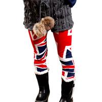 New 2014 Kid Girls Children's Skinny Slim Trousers Union Jack Flag Leggings for Girls Red Pants Size 1-6 Y