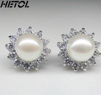 Free Shipping Natural pearl earring han edition pearl earrings, 925 silver earrings female cute zircon earrings