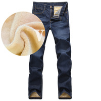 2013 fashion designer brand men jeans denim pants trousers,Autumn and winter with wool warm pants  blue