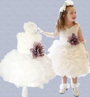 Retail 2014 New girls sleeveless waist Chiffon dress children toddler 3D Flower Tutu Layered princess Party Bow Kid Formal Dress