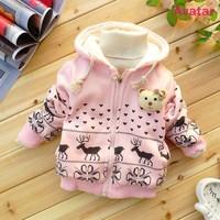 The children wear warm coat, cartoon little deer printed cloth,zipper hooded thick coat 4 pcs/lot