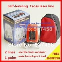 Grátis frete AK435 360 grau auto nivelamento cruz nível Laser vermelho 2 linha 1 ponto(China (Mainland))