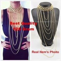 Do not fade!Gothic Big Chunky Gold Body Multi Long Tassel Statement Chain Choker Collar Necklace Women Jewelry Item 2014,B89