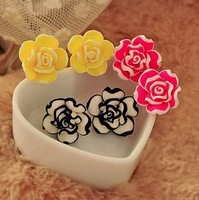 0285 Min. order $10 (mix order) Free shipping New arrival beautiful cute  flower black / white edge earrings for lady