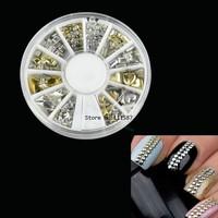 Promotion!! Cheap 15set/Lot 120Pcs Fashion Metal Nail Art Rhinestone Decoration Tips Metallic Studs Gold Silver Wholesale10912