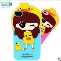 High Quality Cute Little Girl Hybrid Silicone Case For iphone 4 4s Back Cover Soft 3D Cartoon Gel Protective Shell Free Shipping