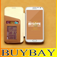 New arrival Geniune smooth leather case for SS Galaxy Note2 , Luxury skid resistance flip cover for  N7100   free shipping