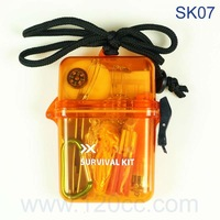 Free shipping 1PC SK07 Outdoor Hicking Survival Kit Plastic Survival Kit  Camping Mini Survival Kit  Personal Survival box