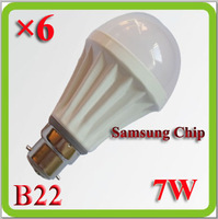 Drop shipping 2014 new 7W LED bulb bombilla LED lampara LED a60/a19 Sumsang chip B22 110v 120v 220v 230v 240v input