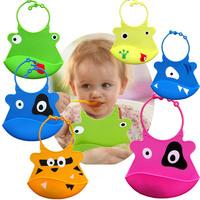 2pcs/lot Cartoon Skin Baby Bibs Eat Solid Convenience Health Silicone Waterproof Bib Free shipping & wholesale