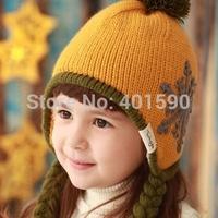 Children bonnet winter caps snow defence beanie skullies warm bomber hats( knitting wool +plush) for baby girls