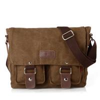 3 colors Canvas PU leather bags men messenger bag 2014 NEW  vintage casual shoulder bags brand 2101