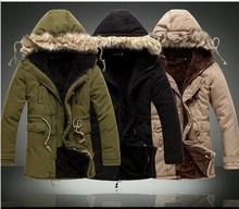 Fashion 2014 Winter Man Jacket Men Outwear Medium-Long Fleece Down Jackets Thickening Fur Hooded Coat Parka Free Shipping(China (Mainland))
