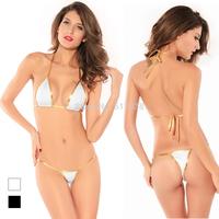 Women's fashion Sexy Micro mini Brazilian scrunch Triangle Top Thong G-string bikini swimwear beachwear nightwear lingerie Set