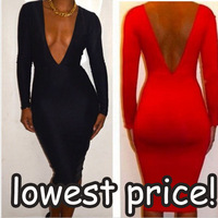 2013 New fashion bandage dress,red black Long Sleeve Sexy party bodycon Backless dress,women's clubwear nightclub dress
