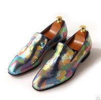 jiniwu men multicoloured round toe genuine leather  burst pattern sheepskin loafers male big size flats dress shoes JH09
