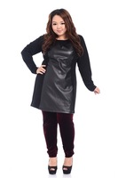 Fat women Big Size T Shirt pu Leather Patchwork Ladies Large Plus Size Long Sleeve Tees Large Clothing 2014 Fashion