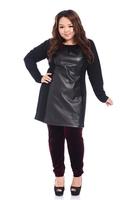 Fat women Big Size T Shirt pu Leather Patchwork Ladies Large Plus Size Long Sleeve Tees Large Clothing 2014 Fashion