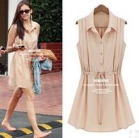 Plus Size New 2015 Free Shipping Europea Style Fashion Summer Turn-down Collar Sleeveless Chiffon Female One-piece Dress LBR0238