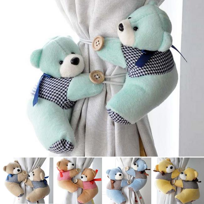 Free Shipping 2PCS/Pair Window Curtain Hook Tieback Cute Bear Curtain Buckle Hangers Belt #1056(China (Mainland))