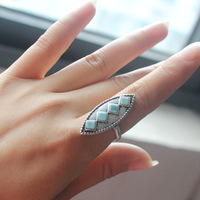 Fashion four elegant turquoise ring  rhinestone rings of style restoring ancient ways Wholesale Free shipping