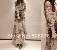 2014 two-piece design bohemia chiffon long dress full serpentine pattern Dress full print chiffon dress Free shippingt556