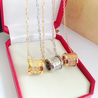 Luxury Italy brand bijoux jewelry crystal rhinestone pendant 18k gold titanium steel chain chocker necklace men women