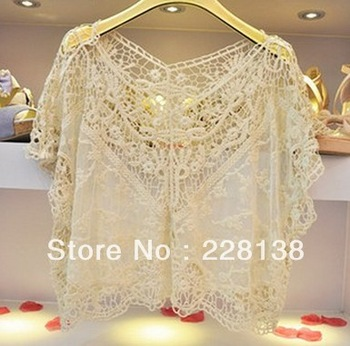 Beige/Black/White Hotsale Casual Brand Women's Sweet Lace Flower Batwing Halter Tops Blouses Crochet Blouse Tee T Shirt