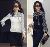 Promotion!!2014 New ZANZEA Fashion Hot Sale OL Womens Ladies Stripe Long Sleeve Turtleneck Shirts Blouses Black/White Size S- XL