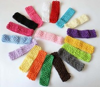 "Hot Sale 1.6"" width baby crochet elastic headband crochet  hair bands children hair accessories 33 colors free shipping"