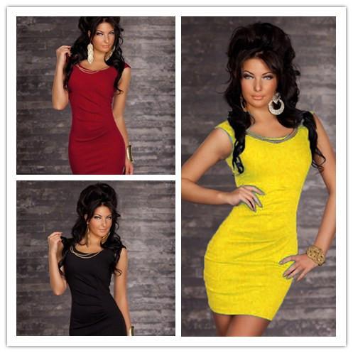 New 2014 4 colors!!!! women spring 2014 mini bodycon winter dress club wear Sexy New sets bandage Gold chain vestidos tunics(China (Mainland))