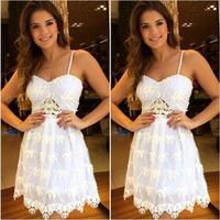 2014 vestido sem mangas vestido de renda branco malha novo moda vestidso de mulheres venda vestido vestidos casual frete  D17