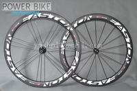 Free shipping Clincher Road Bike Carbon wheels 700C EC90 50mm Powerway R36 Carbon hub