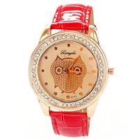 2015 Newest Hot Rhinestone relojes Owl Gift PU Leather Luxury quartz Clock Women Brand Dress Watch Free Shipping Top Quality