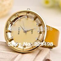 2014 New Hot Sales,7 Colors Fashion Free Shipping Women Rhinestone Watch, Janpan Movements Bright Leather Strap Lady Dress Watch