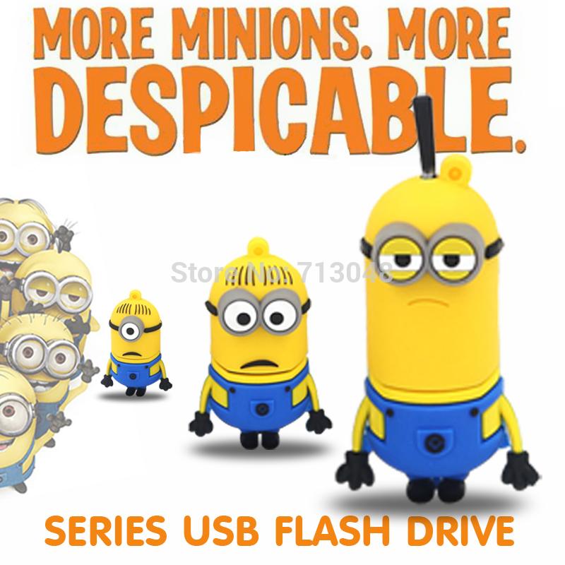 Cartoon toy Minions Despicable Me2 USB 2.0 flash drive 64GB 128MB 8GB 16GB 32GB 4GB 2GB Memory Stick(China (Mainland))