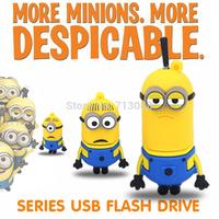 Cartoon toy Minions Despicable Me2  USB 2.0 flash drive 64GB 128MB 8GB 16GB 32GB 4GB 2GB Memory Stick