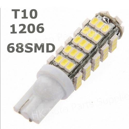 New 168 192 W5W T10 DC12V White T10 68LED 68smd 1206 68 SMD LED Car Auto Bulbs LED Signal Lights white super bright,new(China (Mainland))