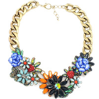 New Fashion Brand Exaggerated Luxury Flower Choker Collar Necklace Crystal Chunky Statement Big Jewelry For Women NK198