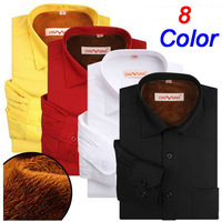 2013 New Fashion Winter Keep Warm Shirt Long Sleeved Business Style Pure Color High Quality Plus Size 4xl  Free Shipping