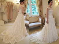 2014 vestido de noiva Cap Sleeve Hot Sale Novias Soft Lace Brazil Wedding Dress Amanda Novias