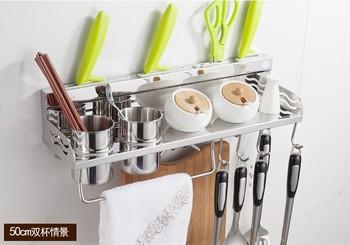 50cm Long Aluminum Kitchen Racks Kitchen Storage Shelf Double Cups Holder For Kitchen Accessories Dinnerware Organizer Cabinet