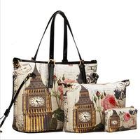 Hot 2015 Women PU Leather Handbag Fashion Women Messenger Bags Printing Shoulder Bag Three-Piece Tote Bolsas New Crossbody Bag