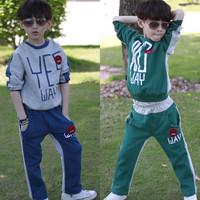 2014 Boy kids sport suit Hoodies Set Spring Autumn Child Sweater Suit Children Clothes Letters Pattern Casual Set