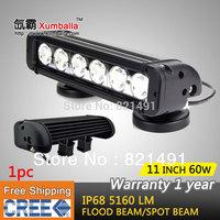 Free shipping 11 inch 60W Cree LED Work Light Bar 4x4 truck tractor offroad fog light LED Bar Spot flood boat UTV ATV Light