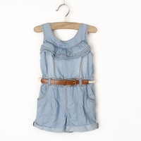 sp15 new 2014 high quality jumpsuit girl shorts jeans overalls casual brand kids denim overalls free shipping 6pcs/ lot