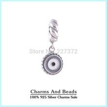 925 Sterling Silver esmalte azul petróleo oscila pendente do encanto Beads encaixa Pandora Estilo Pulseiras Colares(China (Mainland))