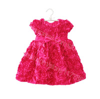 Retail New 2014 summer girl dress, sleeveless, red, floral, with bow belt, princess dress, Free Shipping