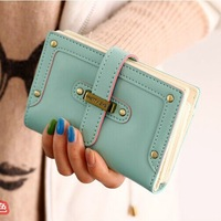2014 new fashion women's purse PU  five colors leather card holders ladies wallet long medium short bag free shipping