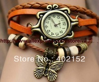 New Arrivals High Quality Women Genuine Leather Vintage Watch,bracelet Wristwatches butterfly,Free Shipping Quartz watch hours